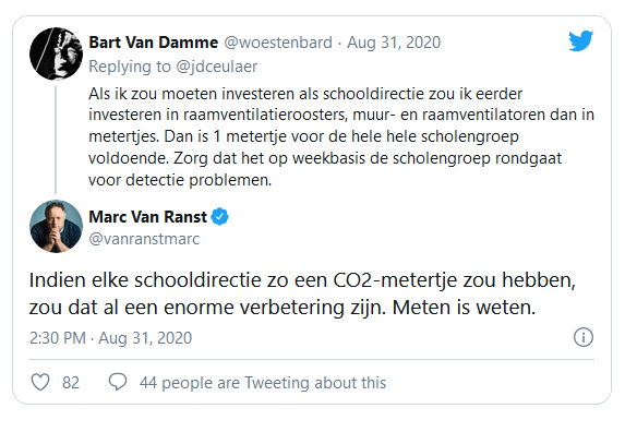 Marc van Ranst råder skolerne til under alle omstændigheder at tage en CO2-måler med sig.