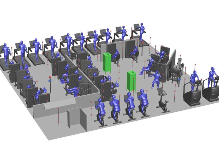 Onderzoeksopstelling luchtreiniging in fitnessruimte